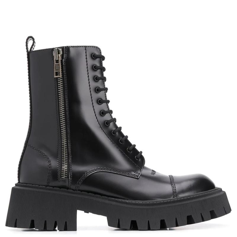 Фото Balenciaga Black Tractor Side-zip Boots White Fur Limited